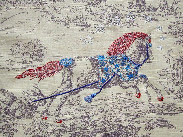 Richard Saja embroidery on toile