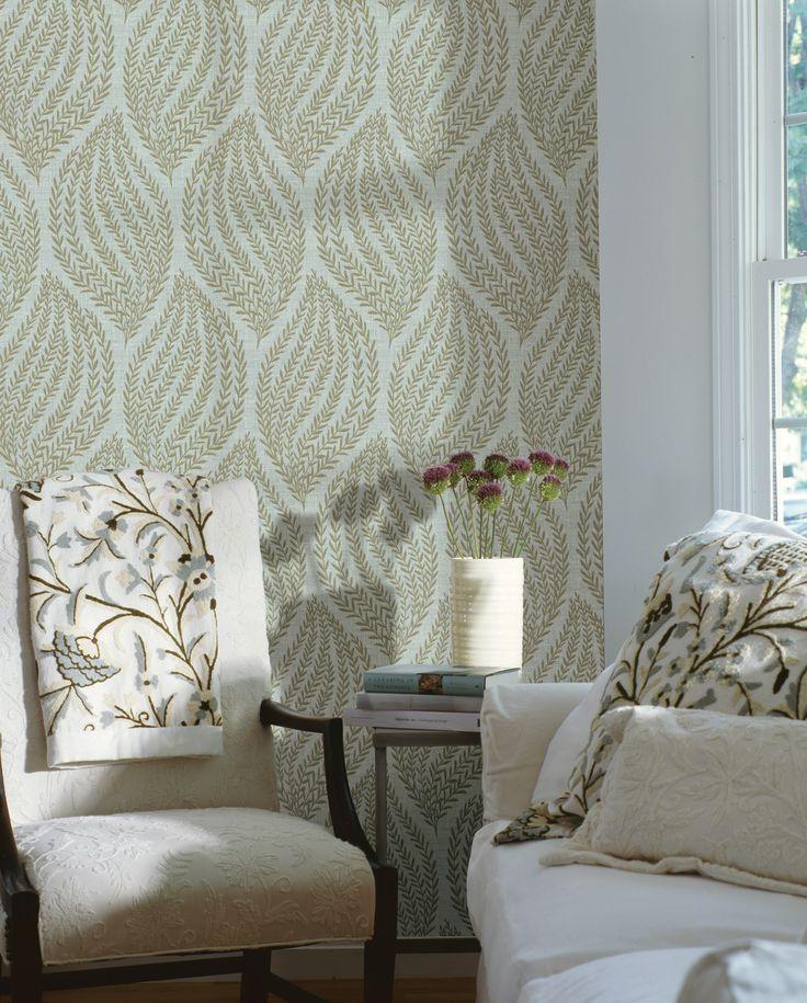 living room decor idea feature wall wallpaper contemporary leaves | Neat decor ideas | Home ...