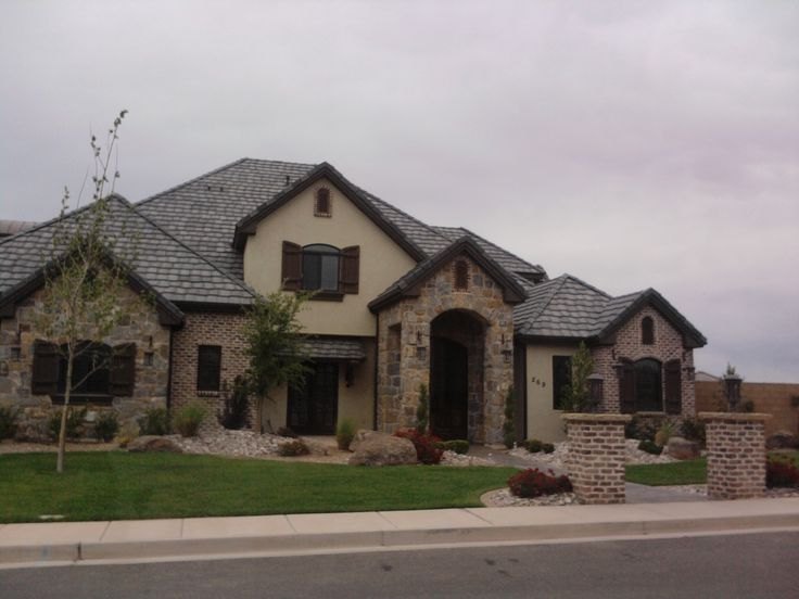 Stucco rock and brick combo house2 pinterest tins for Exterior home accents