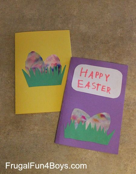 Easter Cards with Marbled Coffee Filter Eggs ~ Frugal Fun for Boys