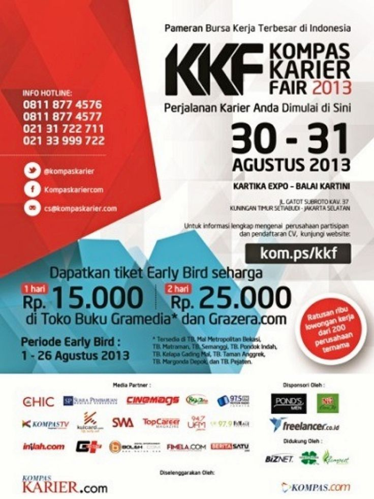 Pameran Bursa Kerja Terbesar di Indonesia Kompas Karier Fair 2013 - Jakarta Rafles Ballroom Balai Kartini, 30 - 31 Agustus  Supported by Rumput Production