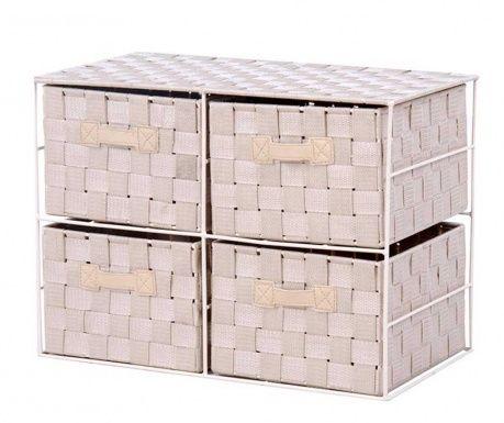 4 košíky s rozměry 26x15xH21 cm. Zobrazené rozměry se vztahují na celou skříňku.
