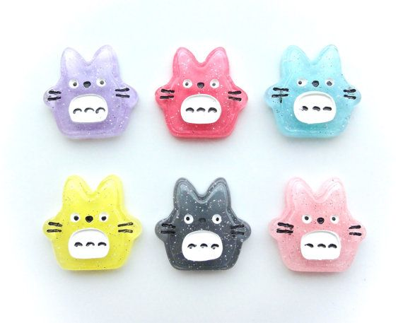 6 pcs  Kawaii Glitter Totoro Resin Flatback by CraftyMissBettie