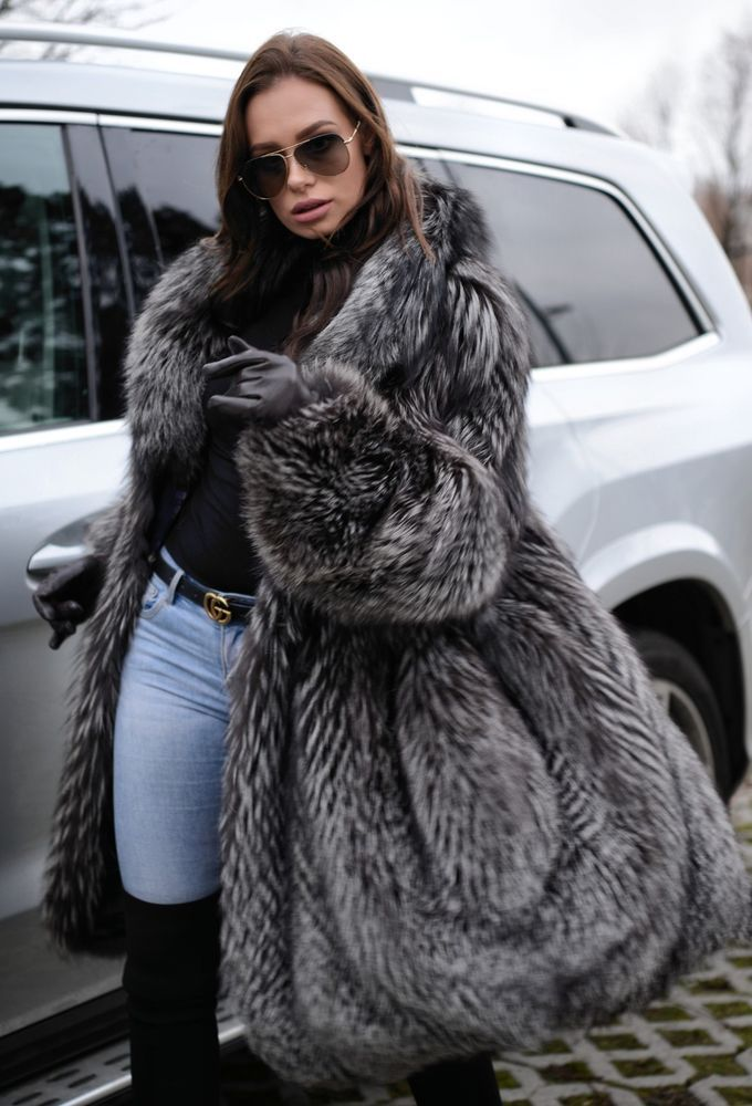 afeff3aca SILVER FOX FUR SWINGER COAT. REAL SILVER SAGA FOX. All skins used in our