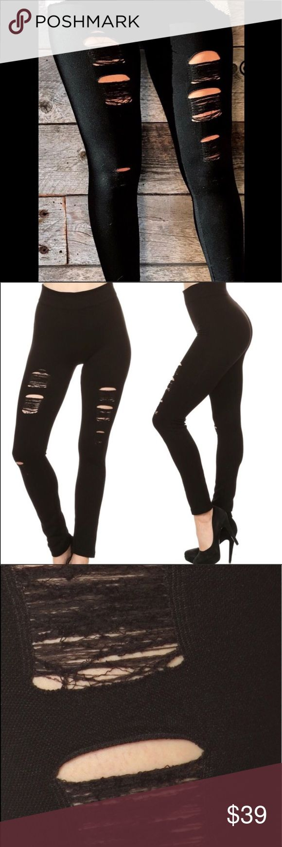 WILA Black Distressed Leggings 🕶Super comfortable! 🌸High waisted! 🔥Very Sexy!    Brand new with tags. Only 3 left Spandex cotton blend Puts LLR leggings to shame! Suggested retail price $50 WILA Pants Leggings