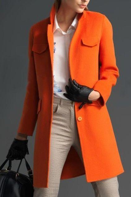 Pocketed Long Sleeves Slim Orange Coat