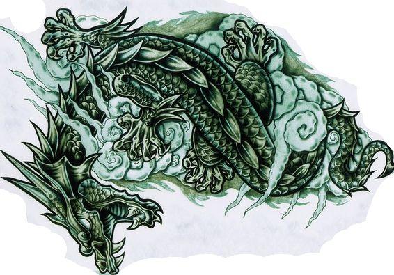 Цветной эскиз тату в форме зеленого дракона