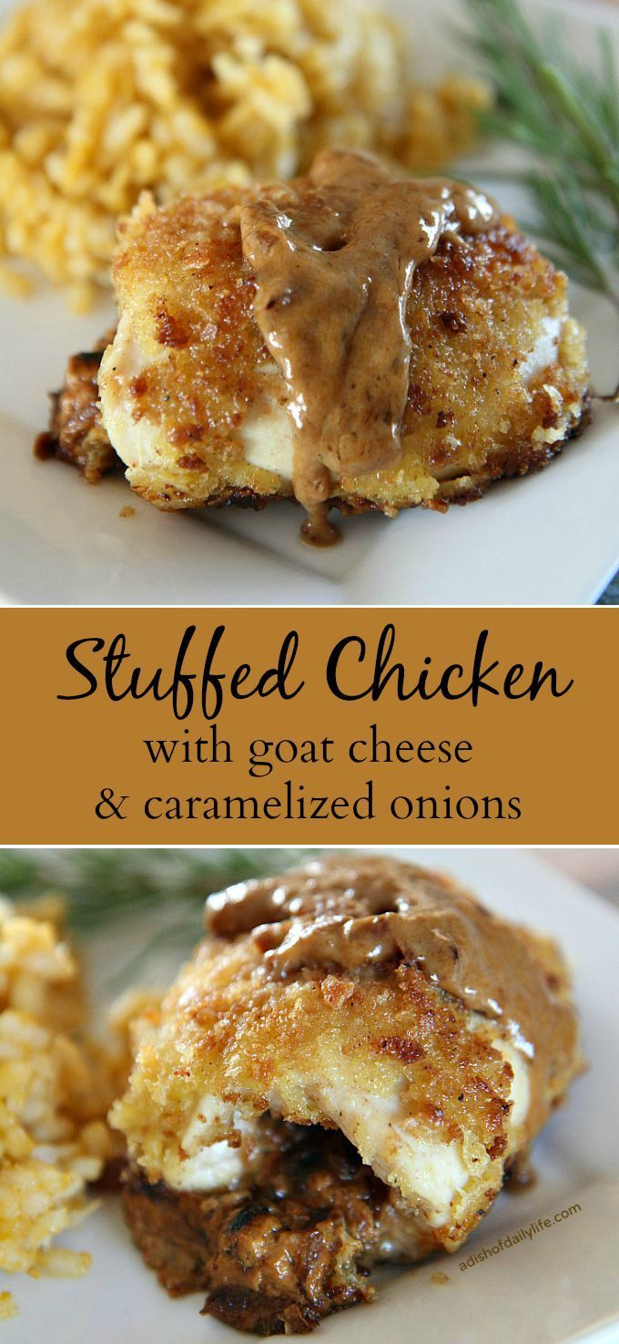 Stuffed Chicken with goat cheese and caramelized onions...delicious dinner recipe, but elegant enough for a holiday or special occasion as well!