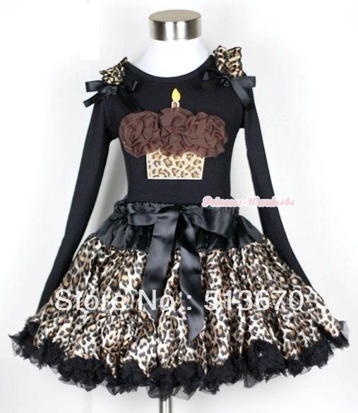 Черный леопард юбка с розетками леопард торт ко дню рождения черный топ с длинными рукавами леопард рюшами и черный с бантом MAMW190