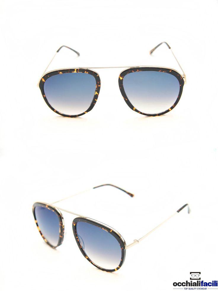 Occhiali da sole G-Sevenstars Lussuria H2 con frontale e terminali in celluloide tartarugato, aste e ponte in metallo dorato. http://www.occhialifacili.com/prodotto/occhiali-da-sole-g-sevenstars-lussuria-b/