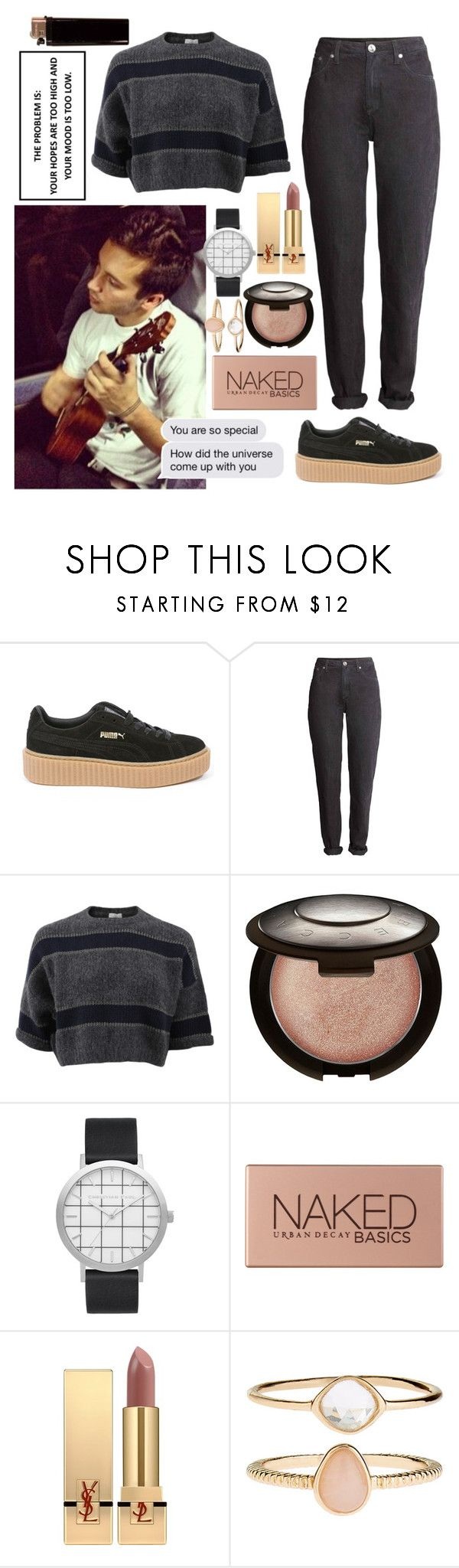 """♡ concert with Tyler ♡"" by queensof ❤ liked on Polyvore featuring Puma, Brunello Cucinelli, Becca, Elwood, Urban Decay, Yves Saint Laurent, Accessorize, Pink, black and tyler"