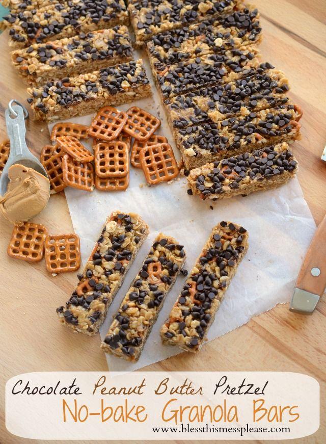 chocolate peanut butter granola bars, homemade granola bar recipe just use synders gf pretzels