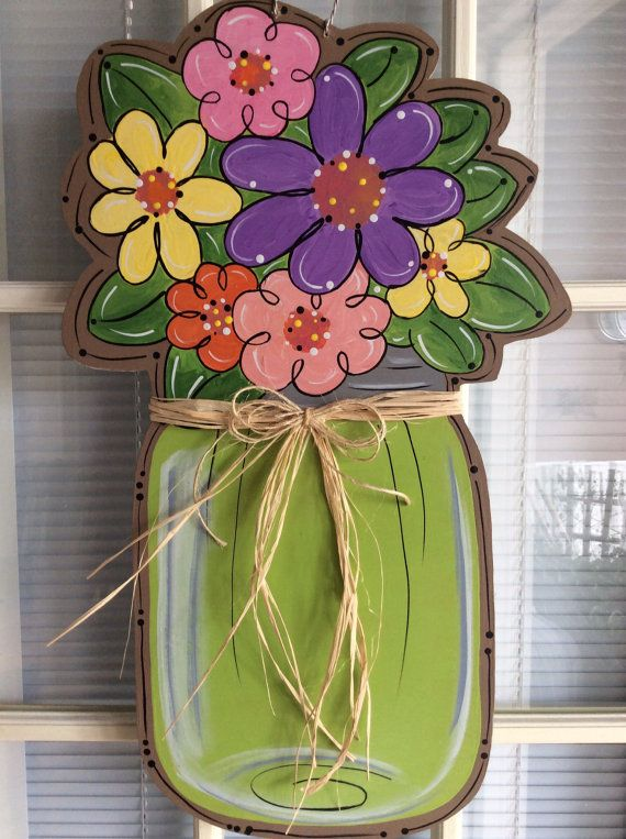 Mason jar with flowers door hanger. by samthecrafter on Etsy