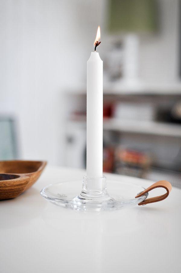 Ljusstake glas läder Holmegaard