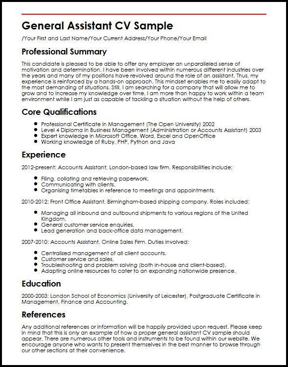 Resume Examples General #examples #general #resume #ResumeExamples