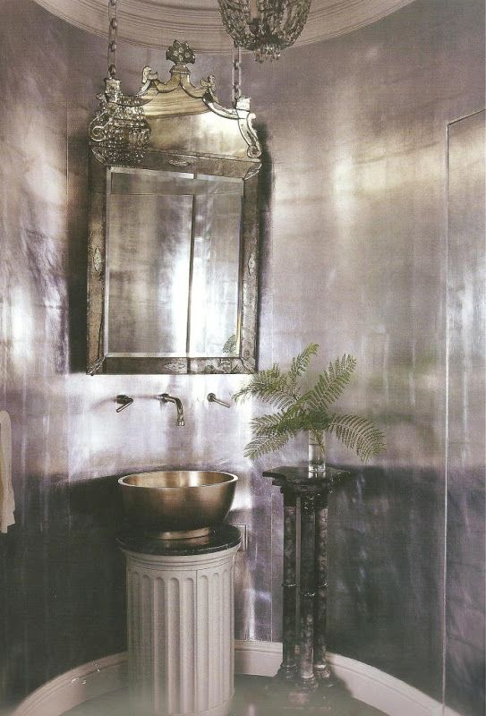mary mcdonald dramatic silver leaf walls in a powder room delight by design silver paper mirrors on chains