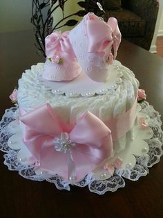 One Tier Pink And White Diaper Cake / Baby Shower Centerpiece / Diaper Cakes / Elegant Diaper Cakes /  Baby Shower Gift