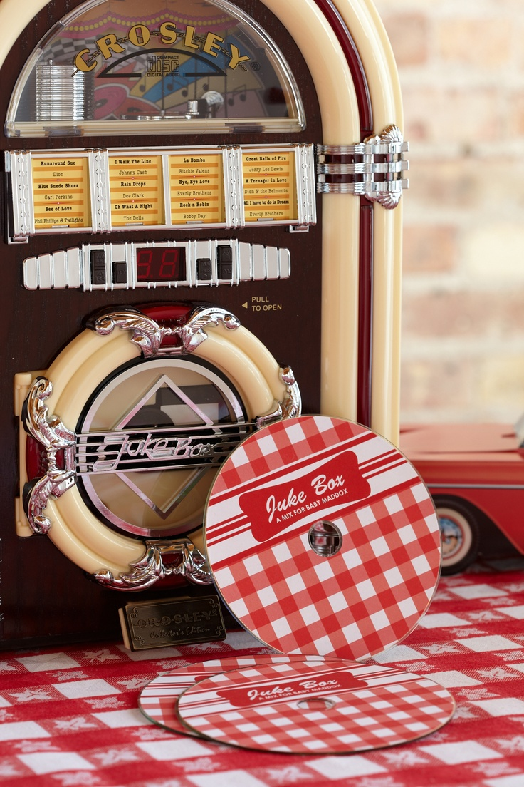 Diner Soundtrack. Pick out a few 50s style songs to play at the baby shower. Pause the music and have everyone guess the next line in the song. Winners get to take home a CD.