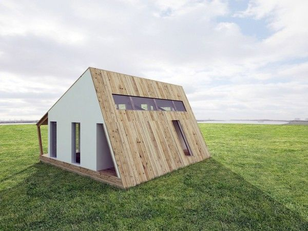 energy saving house...under the siding, there is a bank of solar panels! Minimalist house