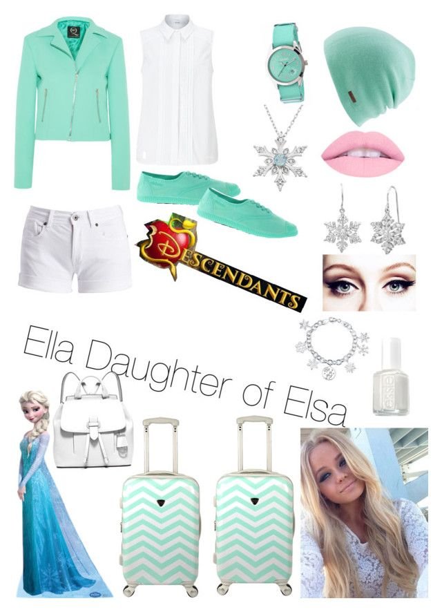 """Disney Descendants OC: Ella Daughter of Elsa"" by leeandbulletfan ❤ liked on Polyvore featuring Coal, Crayo, John Lewis, McQ by Alexander McQueen, Barbour International, Victoria, Amanda Rose Collection, Disney, Essie and MICHAEL Michael Kors"