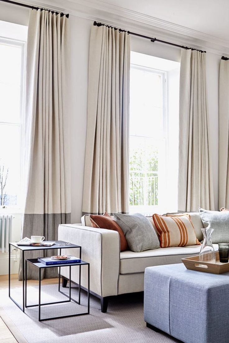 Color blocked linen curtains. Cream and Grey.