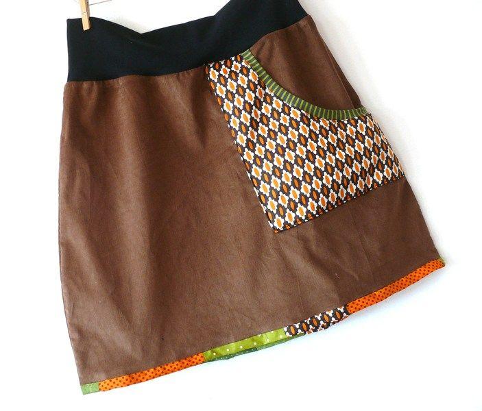 Cordrock 40/42 Sixties Mini Retro Stil Tannengrün von Klitzefanten auf DaWanda.com