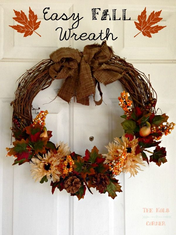 Easy Fall Wreath with dollar store flowers! #DIY #Fall #crafts #thekolbcorner