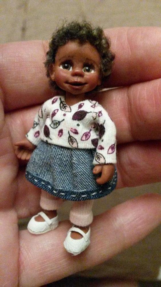 Miniatur Mädchen -ooak- dollhouse girl-handmade -  6,2 cm ebay