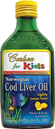 Carlson for Kids Cod Liver Oil Lemon Flavor--great liquid source of Omega 3 fish oils, ultimate brain food!! DHA is more important for kids' brain development. Dose: 200-300mg each daily