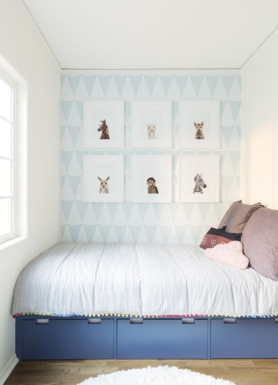 Simple kids room via The Animal Print Shop. I NEED this coverlet!