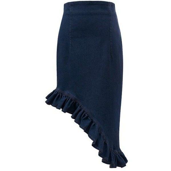 Women's Irregular Design High Waist Flounced Denim Mermaid Skirt (83345 PYG) ❤ liked on Polyvore featuring skirts, high waisted denim skirt, denim ruffle skirt, frilled skirt, blue ruffle skirt and denim mermaid skirt