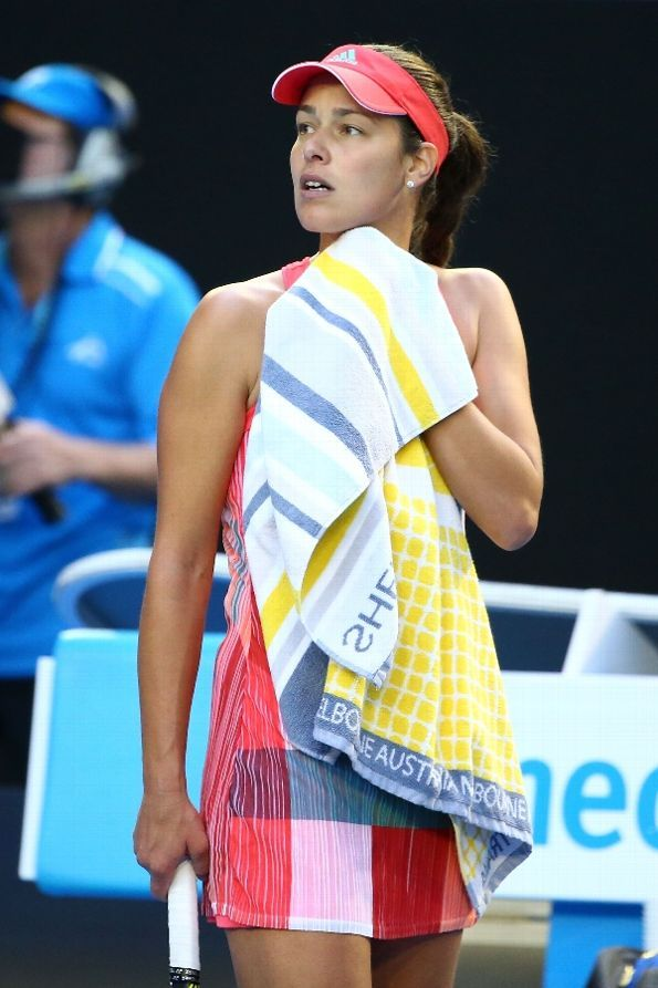 Ana Ivanovic of Serbia looks towards her players box as her coach Nigel Sears fell over in the stands in her third round match against Madison Keys of the United States during day six of the 2016 Australian Open at Melbourne Park on January 23, 2016. (Photo by Scott Barbour/Getty Images)