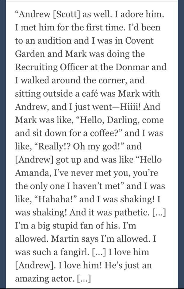 Amanda Abbington (Mary Watson née Morstan) on meeting Andrew Scott (Moriarty) awww, bless her!