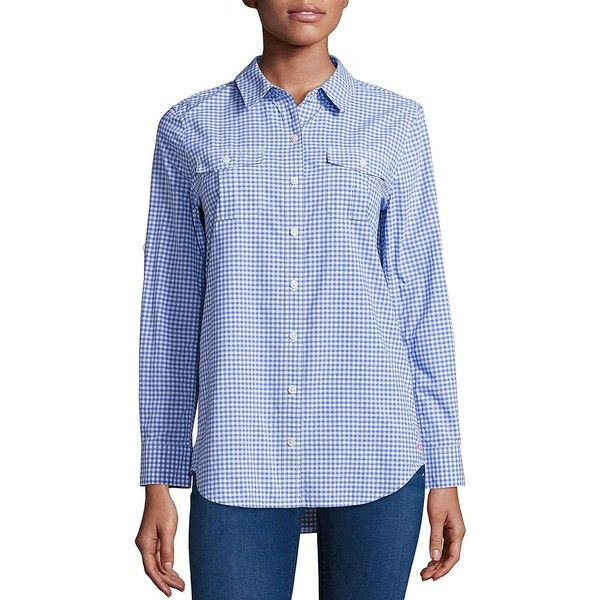 Vineyard Vines Women's Flamingo Gingham Printed Shirt ($65) ❤ liked on Polyvore featuring tops, breaker blue, gingham top, long sleeve shirts, blue long sleeve shirt, extra long sleeve shirts and gingham check shirt