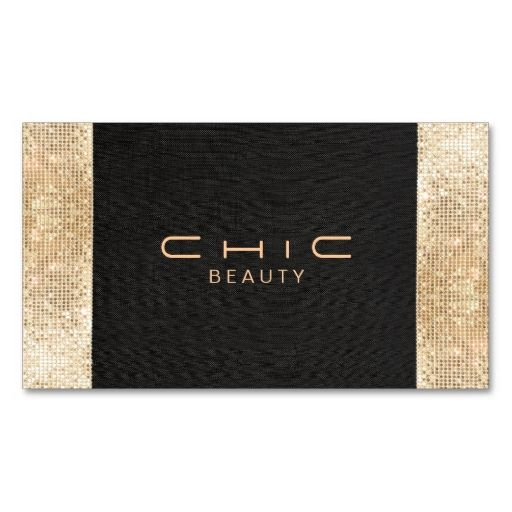 Elegant Chic Black Faux Gold Sequin Beauty Business Card Templates. This great business card design is available for customization. All text style, colors, sizes can be modified to fit your needs. Just click the image to learn more!