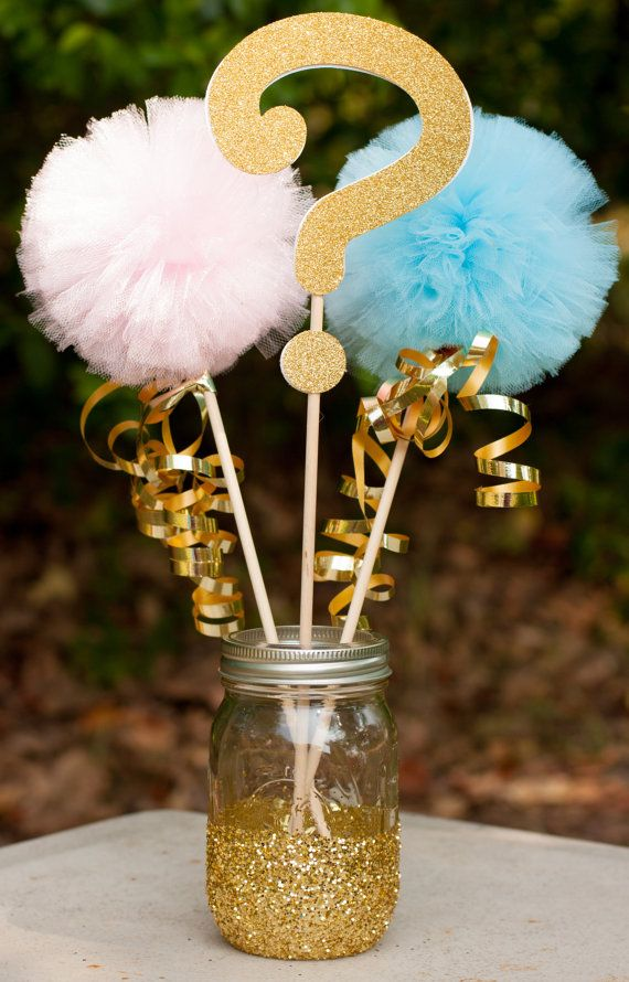 Gender Reveal Party Decoration Centerpiece Gold