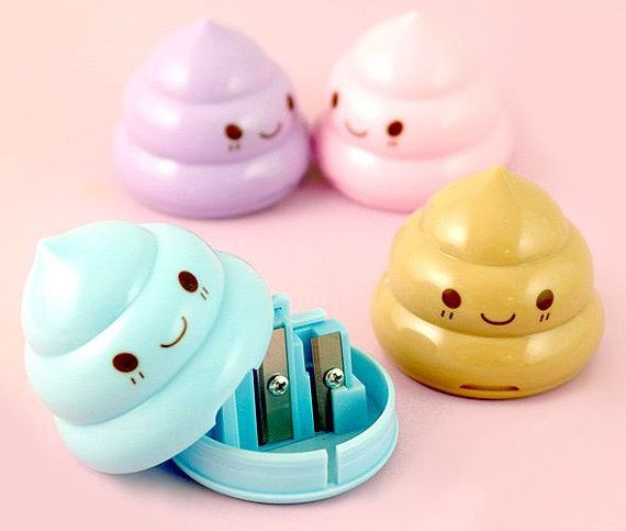 Cute Kawaii Poop Sharpeners / Happy Poop Sharpeners / Cute Pencil Sharpeners / Cute Stationery / Kawaii Stationery / Cute School Supplies