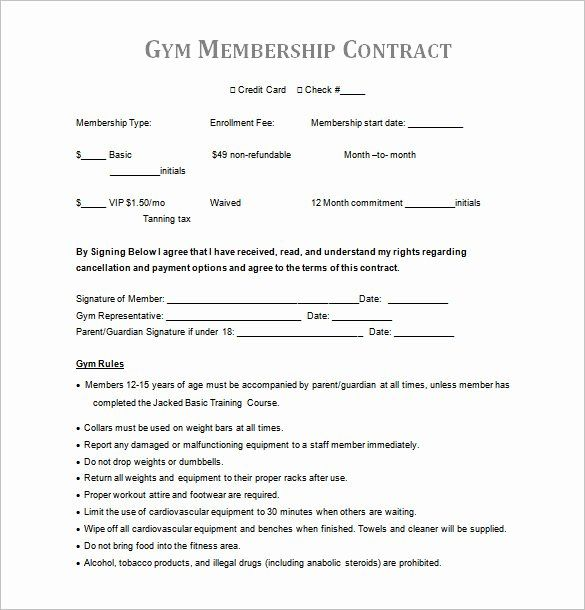Gym Membership Contract Template In 2020 Contract Template Gym