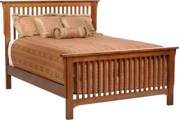 Barcelona Oak Mission Slat Bed Bed Slats Bedroom Furniture Bed