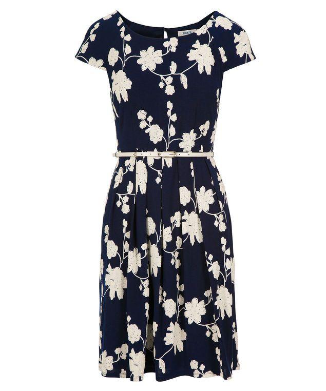 Chambray Puff Print Dress, Navy Blue/Milkshake