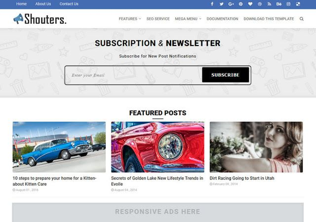 Shouters Blogger Template Is A Premium Money Making Blogger Theme Developed Specifically For Magazine N Blogger Templates Free Blogger Templates Blog Websites