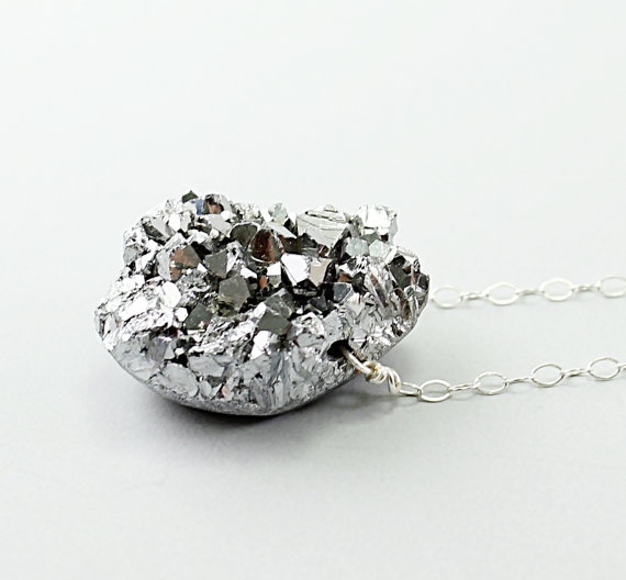Silver necklace amethyst druzy necklace titanium by NatureLook, #fashion #jewelry #necklace #handmadeDrusy Jewelry, Naturelook Gray, Silver Necklaces, Titanium Necklaces, Druses Necklaces, Gray Grey, Drusy Pendants, Amethysts Druzy, Fashion Jewelry