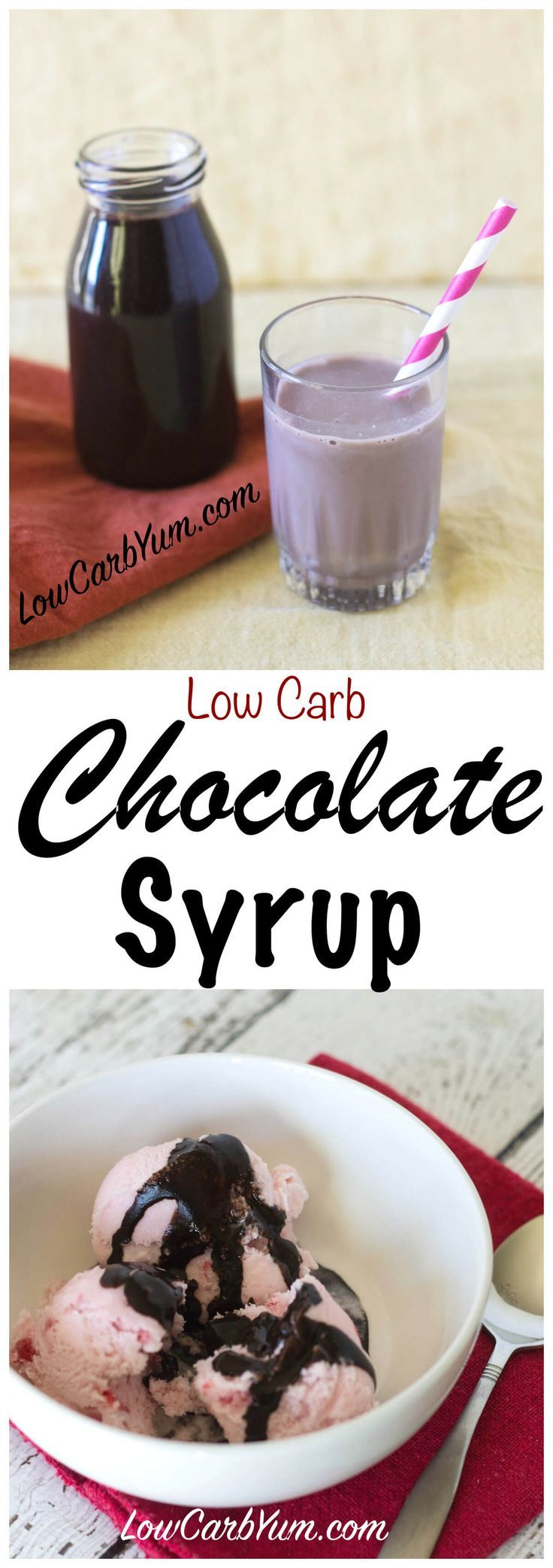 Need a low carb sugar free chocolate syrup to make chocolate milk and use as an ice cream topping? It's super easy to make your own with this easy recipe. Gluten free Keto Banting LCHF THM