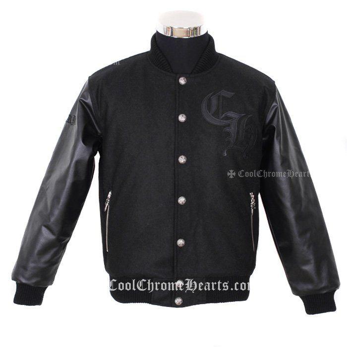 CH Logo Embellished Chrome Hearts Black Jacket with Leahter Horseshoes