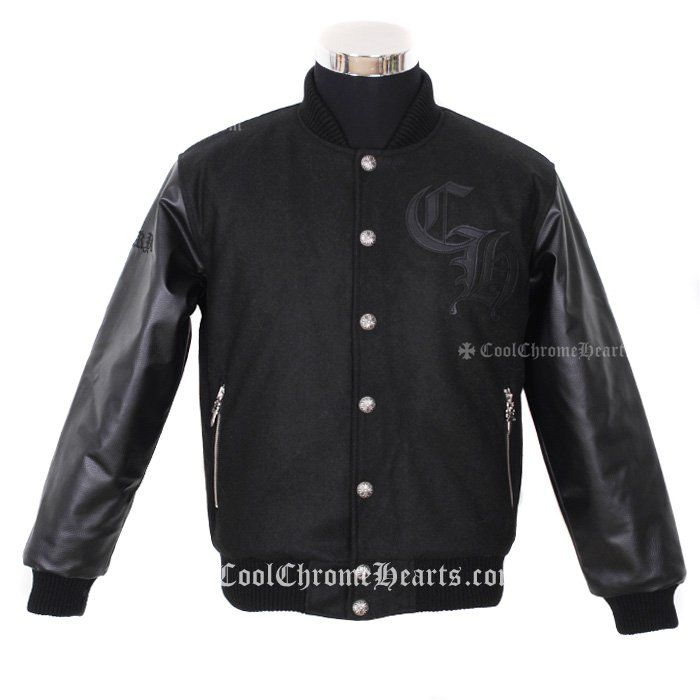 CH Logo Embellished Chrome Hearts Black Jacket with Leahter Horseshoes