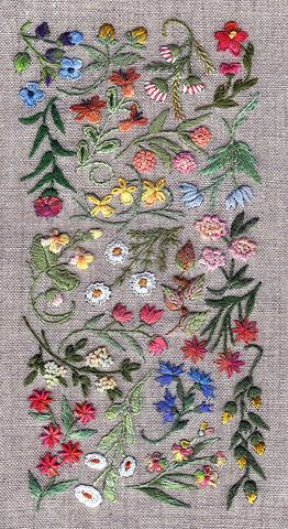 Embroidery / French, flower sampler.