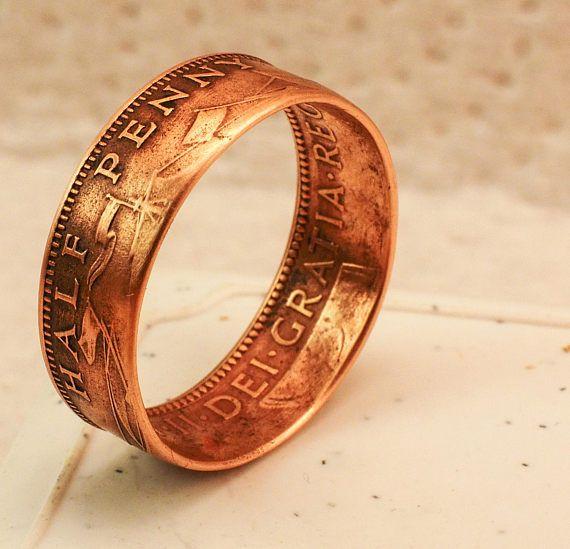 1960 British Half Penny Coin Ring