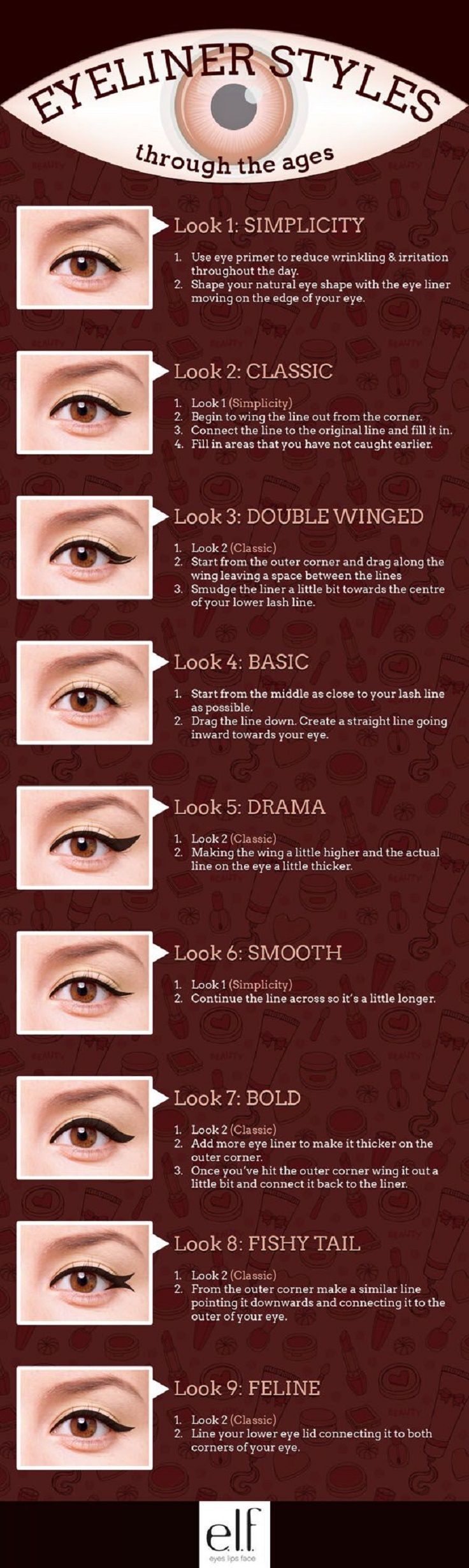Simple Eyeliner Tutorials for Perfect Eyeliner Looks - 13 Best Makeup Tutorials and Infographics for Beginners