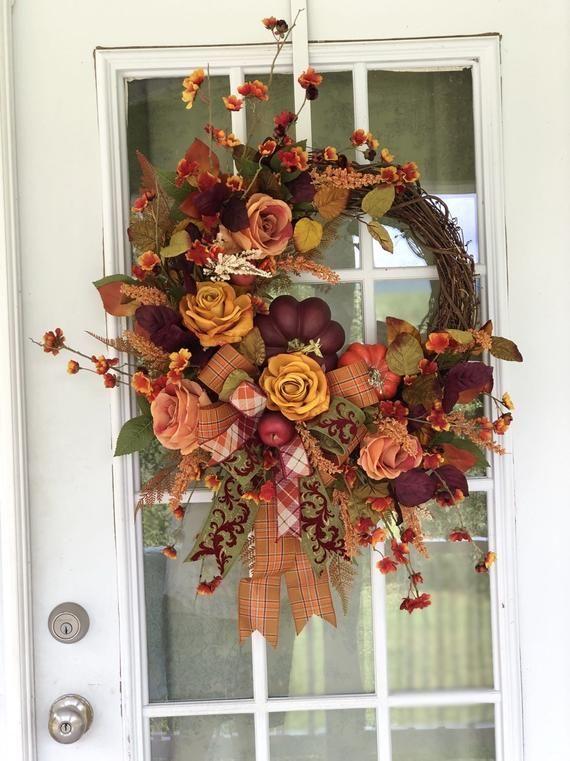 Fall Floral Wreath Elegant Fall Wreath Fall Roses Wreath Front