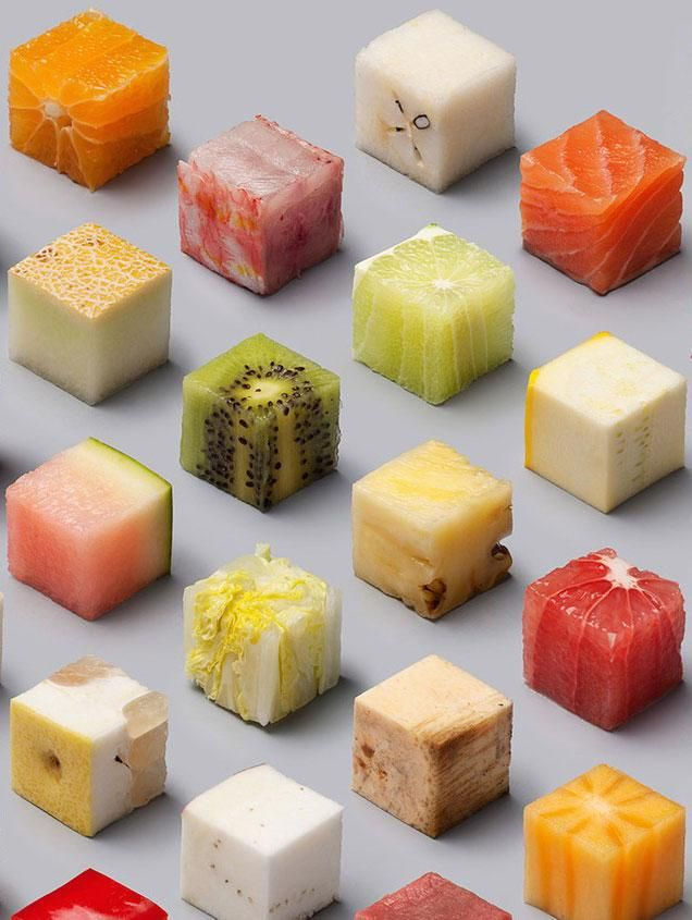Visual artist duo Lernert & Sander cut up 98 different raw foods into perfect cubes — and the result is totally mesmerizing.
